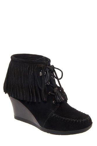 Minnetonka 84020 High Wedge Lace Up Fringe Ankle Boot
