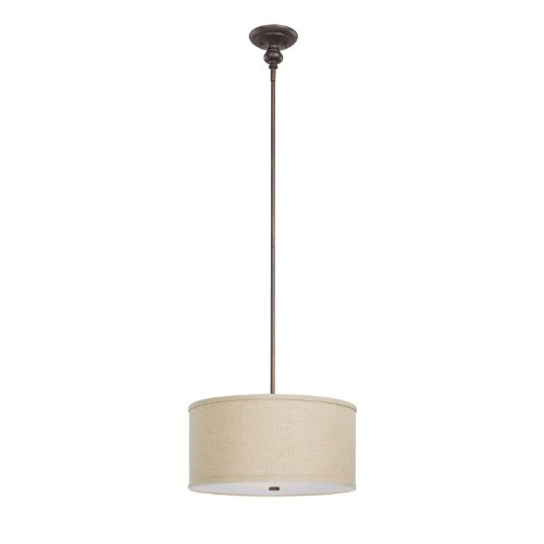 Semi-Flush Mount Stem-Hung with Adjustable Height Chrome Finish 18 3-Light Modern Drum Chandelier /& Round Frosted Acrylic Diffuser