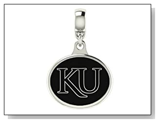 Kansas Jayhawks Black Enamel Collegiate Drop Charm Fits Most Pandora Style Bracelets Including Pandora Chamilia Zable Troll and More. High Quality Bead in Stock for Immediate Shipping. Officially Licensed