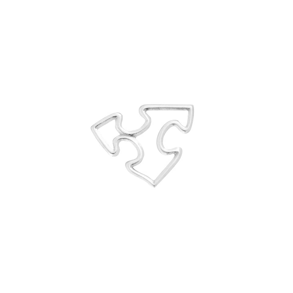 Sterling Silver 19x17mm Autism Puzzle Piece Link