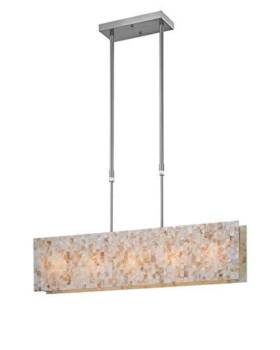 Lite Source Schale LED 1-Light Pendant, Polished Steel/Shell