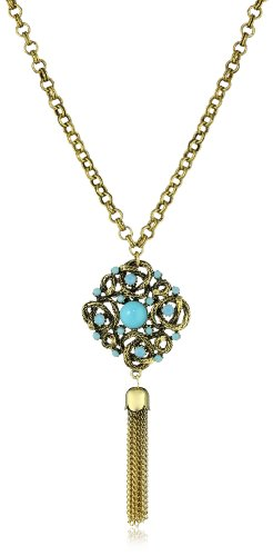 Yochi Turquoise Stone Braided Necklace