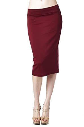 Women'S Ponte Roma From Office Wear to Casual Below Knee Pencil Skirt - Burgundy S