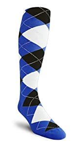 Argyle Socks - QQ: Royal Black White - Over-the-Calf by Golf Knickers