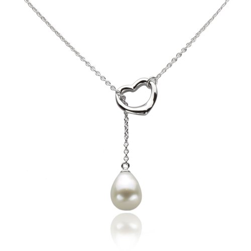 """Sterling Silver Open Heart Shape Chain Pendant Necklace 9x11mm White Freshwater Cultured Pearl, 21"""""""