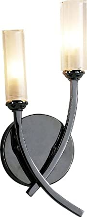 Lyco Wall Lights Gazella Black Chrome Twin Wall Light with Opal Glass Shades Max 2x25 watt G9 ...