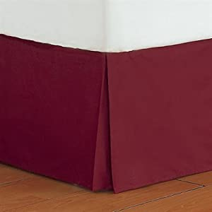 300tc egyptian cotton solid burgundy twin extra long pleated tailored bed skirt. Black Bedroom Furniture Sets. Home Design Ideas