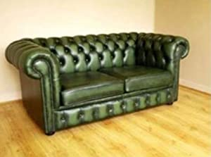 Chesterfield Antique Green Genuine Leather 2 Seater Sofa       Customer review and more news