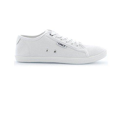 Only scarpe Sneaker Low Top Basic Mocassino Slipper da donna scarpe da ginnastica bianco 37