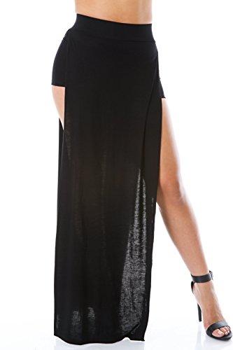 Double Split Maxi Skirt L BLACK (Maxi Double Split compare prices)