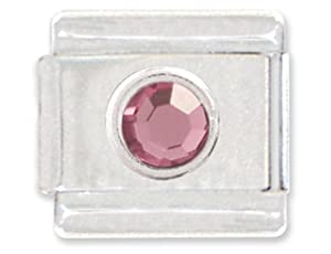 October Rose Quartz Color Round Crystal Birthstone Italian Charm Bracelet Link