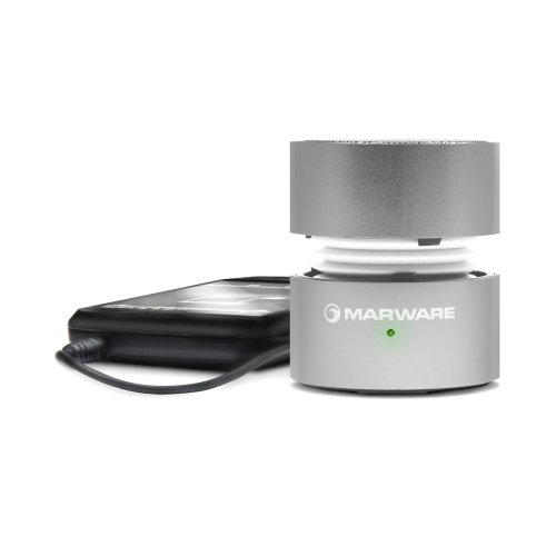 Marware Upsurge Rechargeable Mini Speaker With 3.5Mm Headphone/Audio Jack, Silver