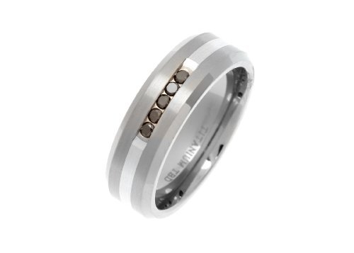 7mm Titanium Flat Shape Metal Brushed Ring With Silver Band Channel Set With 5 Black Diamonds In A Row