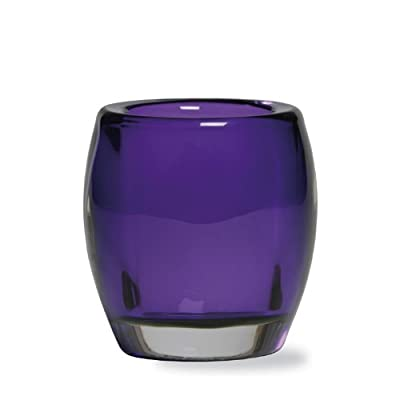 Bolsius Purple Oval Heavy Duty Quality Glass Tealight Holders 77x72mm (Box of 6)