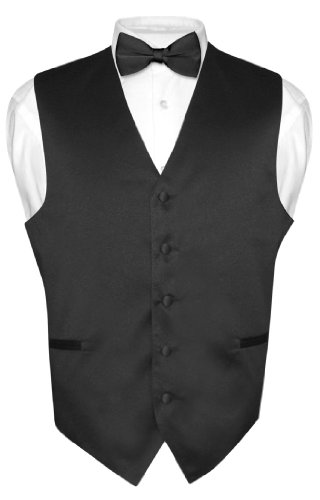 Men's BLACK Dress Vest BOWTie Set for Suit or Tuxedo Small