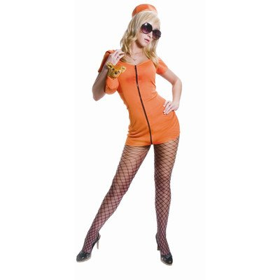 Adult Sexy Prisoner Costume Set - Orange - Super Low Closeout Price