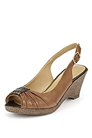 Footglove&#8482; Original Leather Ruched Peep Toe Wedge Shoes