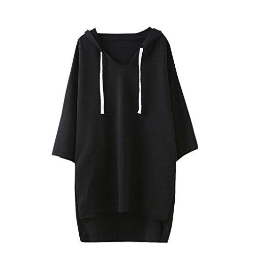 Lucoo Luxury Fashion comfortable Women Long Sleeve Hoodie Sweatshirt Sweater Casual Hooded Coat Pullover (Black)