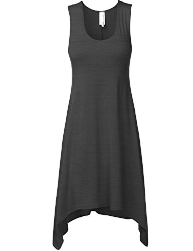Luna Flower Women's Sleeveless Asymmetric Bottom Hem Short Dresses, Size XXLarge, Color Charcoal Bottoms Casual Shorts