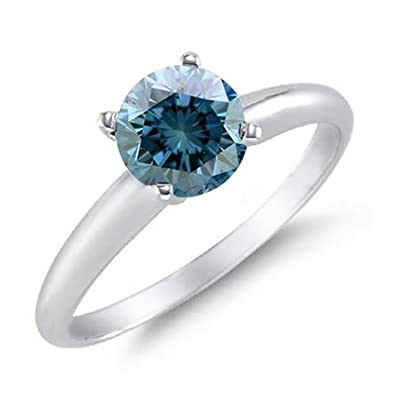 14K White Gold Blue Diamond Solitaire Ring (1.50 CT) In Size O