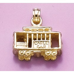 14K Gold Transportation Necklace Charm Pendant, 3D Cable Car San Francisco