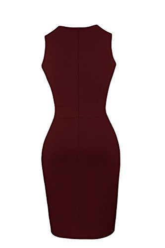 Heloise Women's Bodycon Sleeveless V-Neck Little Wine Red Cocktail Party Dress (L, Wine Red)