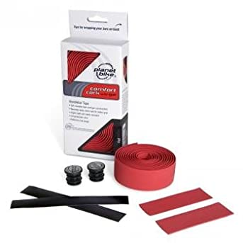 Planet Bike Comfort GEL Road Bike Handlebar Tape with Reflective Bar Plugs (Red Cork)