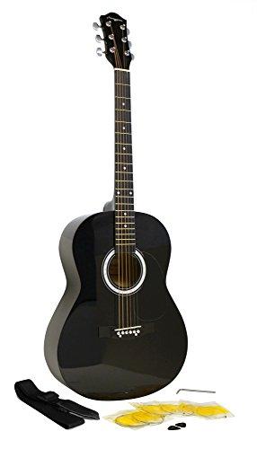Martin Smith W-100- Chitarra acustica con pacchetto di accessori, con corde, plettri e tracolla, colore: nero, Nero