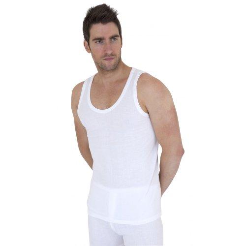 あったか 防寒 保温 下着 肌着 インナー ポリビスコースノースリーブ タンクトップ 男性用 (英国 製) (S) (ホワイト)
