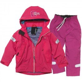 Childrens Didriksons Cameron Waterproof Jacket & Trousers Fuchsia/Dark Fuchsia