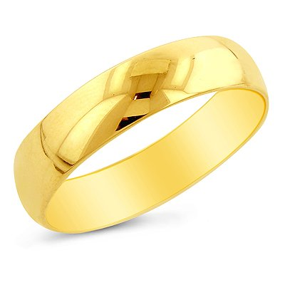 14K Yellow Gold 5mm Men's Wedding Band Ring Size 11: Jewelry