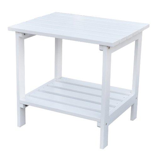 Shine Company Rectangular Basic Patio Side Table, Large, White