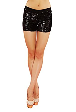 Icibgoods Women's Sequins Shorts Dance Performance Costume Shorts Pants