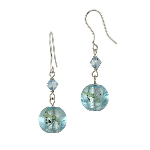 Sterling Silver Round Multi-Blue Hand Blown Glass and Crystal Drop French Wire Earrings