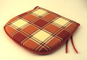 Large Rust Check Tie-On Carver Chair Kitchen/Dining Room/Patio Seat Pad Cushion