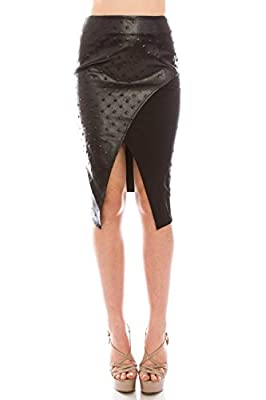 VIRGIN ONLY Women's Mixed Media Faux Leather Asymmetrical Skirt