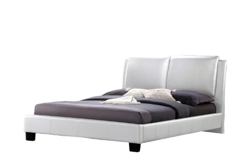 Baxton Studio Sabrina White Modern Bed With Overstuffed Headboard, King front-950609