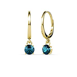 Blue Diamond Four Prong Solitaire Dangling Earrings 0.50 ct tw in 14K Yellow Gold