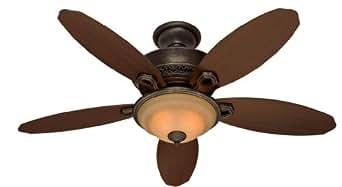 "HUNTER HR 21315 52"" Ceiling Fan Roman Bronze With Light & 5 Reversible Dark Walnut/Alder Blades"