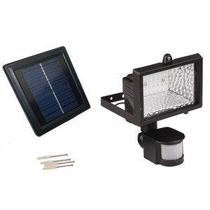 Solargoesgreen Solar Powered 50 Ft. Range Outdoor Motion Security Black Flood Light With 28 Led