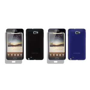 totaldigitalstores - Gel Case X 2 for Samsung Galaxy Note + 2 Screen Protectors (2 Pack contains 1 X Black & 1 X Blue)