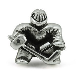Ice Hockey Goalie Sports Solid Sterling Silver Authentic Ohm Beads Fits European Charm Bead Bracelets