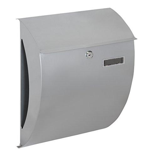 stahl-Briefkasten mit Namensschild und Zeitungsfach, silber, BK 2000