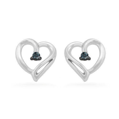 10KT White Gold Blue Round Diamond Heart Earring (0.04 cttw)