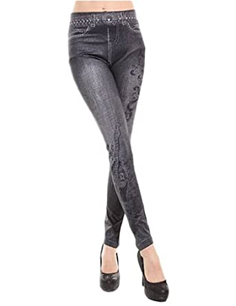 Jollychic Women's Trendy Denim Printed Leggings Stretch Slim Ankle Length Pants One Size Black