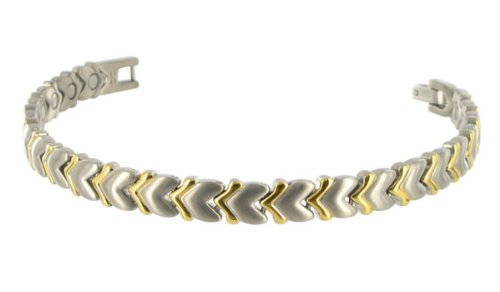 Two tone Heart 8 MM Wide Titanium Magnetic Link Bracelet 7.5