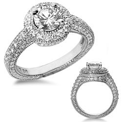 3.07 Ct. Designer Diamond Engagement Ring with Side Stones