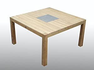 Garden Table Square Solid Wood Slate Insert Outdoor Dining