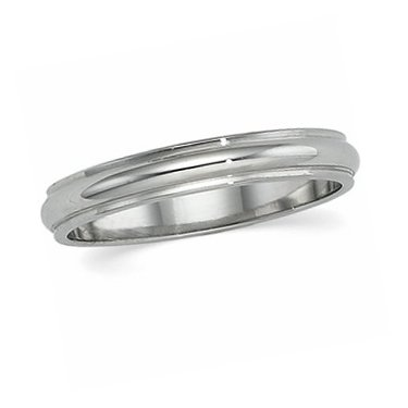 14K White Gold, Edged Half Round Wedding Band 2MM (sz 15.5)