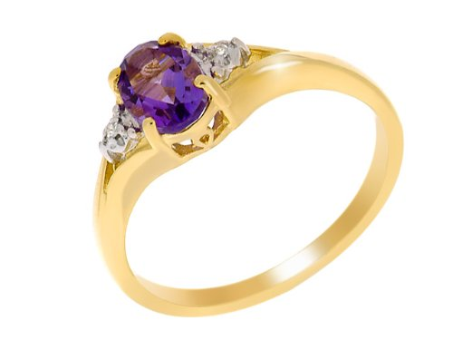 9ct Yellow gold Amethyst and Diamond Ring - Size L